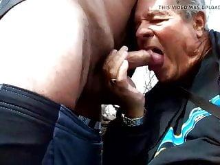Grandpa Sucking Outdoor