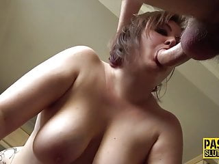 Larger lady with a big ass gets paddled and throat fucked