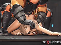 Area 51 Sci-fi soldier fucks a sexy young blonde hard in lab