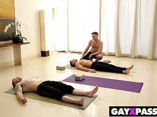 Yoga stretched gay session...