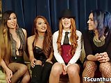 TS gangbang beauties plowing pussy and ass