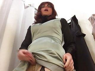 Cum wearing an evening dress