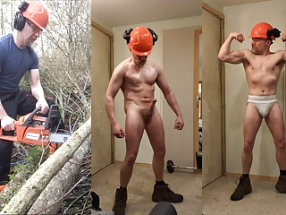Muscular Lumberjack Cuts Trees then strips, oils up and cums