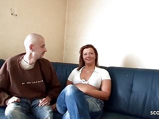 German Redhead BBW Amateur Wife Fucks Tiny Neigbour and Pees