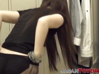 Voyeur Gazing At Japanese Babe Stripping Stockings