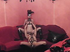 Sissy Slave Lick Fuck Mistress Wife In Boots Mask Strapon