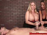 Femdom masseuses in cum control session