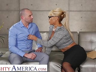 Naughty America Bridgette B. fucks married man on couch