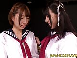 Nippon cosplay les fingering hairy pussy