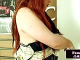 Redhead tgirl solo toying ass while jerkingoff