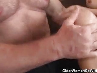 Older honey strpped and cock sucks his man...