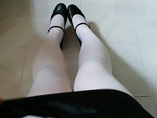 Black Mary Jane with White Pantyhose Teaser