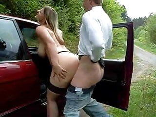 Chubby girl fucked outdoors receives a thick...