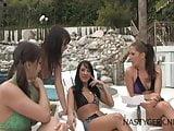 Orgy lesbian pool party