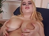 Chubby Tits Euro Girl Rubs Big Tits and Dildos Her Wet Slit