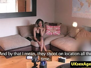 Beauty throating at audition...