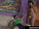 Hot Curvy Cuban Angelina Castro Rides A Lucky Hard Cock!