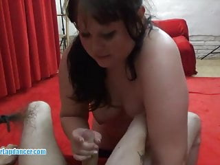 Teases a horny guy with lapdance and blowjob...