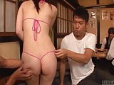 Japanese sexy izakaya string bikini clad employees Subtitled