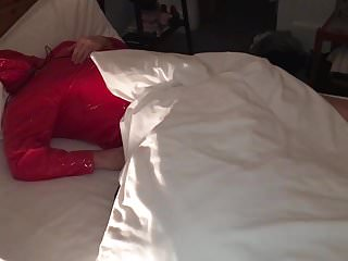 Lydia 039 lying in pvc mac hood over...