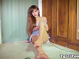 Toes wiggling ladyboy showing her cute feet