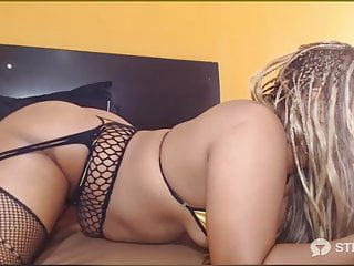 hot blonde masturbating pussy and ass with dildo in bed