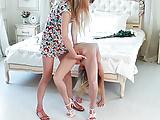 skinny doll bending by her girlfriend