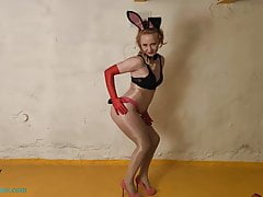 Excited Bunny in Pantyhose Dances and Sexually Having Fun
