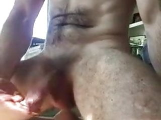 Hairy Muscle Otter Jacks His Bushy Cock and Cums Loudly