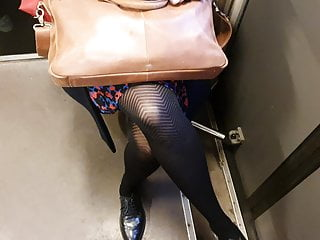 Patterned pantyhose in the train