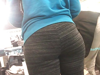 Mexican mature in leggings with fat ass...