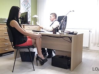 LOAN4K. Long-haired brunette Inga comes to a small loan comp