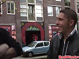 Real dutch hooker being cumshowered by tourist