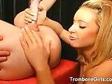 Hot girl strips and licks a mans ass