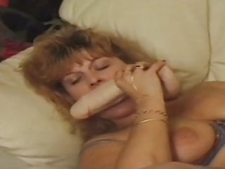 Horny mature likes big dildo
