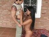 longhair brazilian tranny and guy fucking action