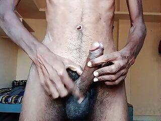 Rajesh masturbating dick in the bedroom and Cumming in glass