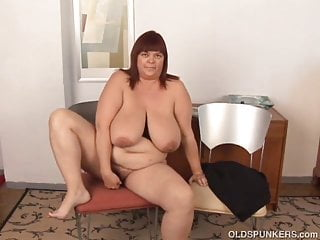 Huge boobs old spunker plays with juicy pussy...