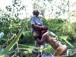 Nude slave abused in public