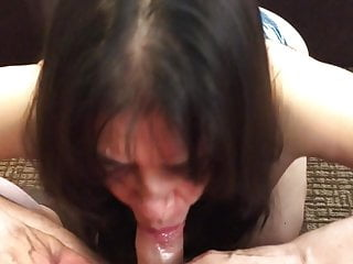 Latina sexy mom magnificence Gabriella Vega offers head in blue bra