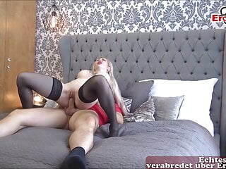 German big tits blonde amateur milf has pov fuck with cum in mouth