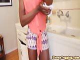 Black model beauty jerking off cock