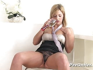 Piss fuck big boobed blonde drinks gets...