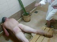 Bath day. Episode 1. Birching in Russian style