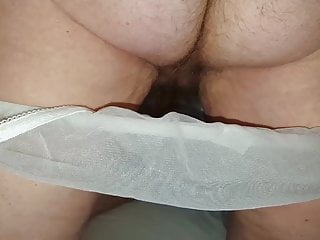 hairy pussy & nipples in see throuhg lingerie, hairy ass