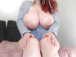 Big Tits Redhead Orgasm video: Redhead princess with huge beautiful veiny boobs has fun