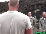 Uniformed muscle troops drilling ass in orgy