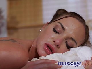 Foot Fetish Brunette Footjob video: Massage Rooms Cristal Caitlin gives foot massage to natural