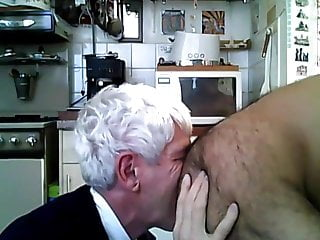 White haired daddy and rims hairy man...