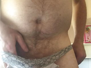 Wanking and Cumming in wifes knickers
